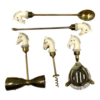 Vintage Japanese Cream and Brass Horse Head Tool - Set of 5 For Sale