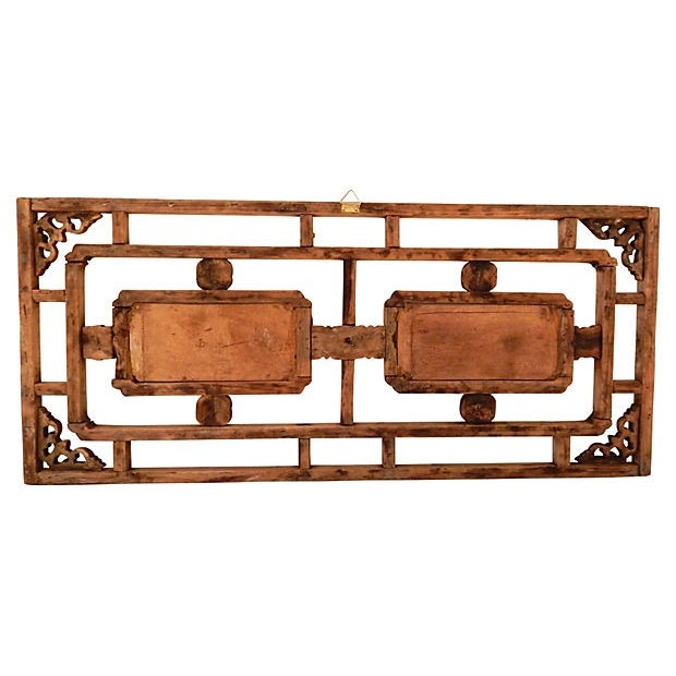 Antique Asian Hand-Carved Wood Panel - Image 4 of 4