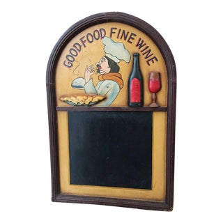 Vintage Oak Hotel Black Board or Menu Board with Relief For Sale