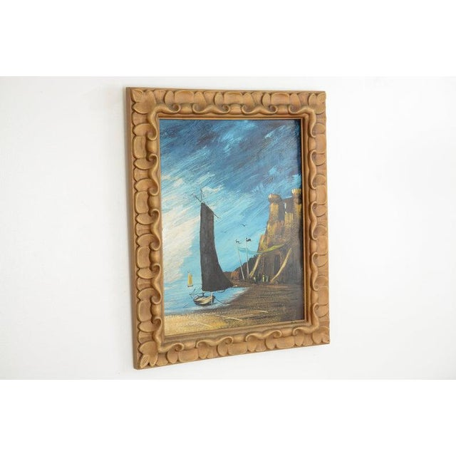 This listing is for a midcentury, ship painting. Vibrant, shades of blues and browns compose this nautical scene. The...