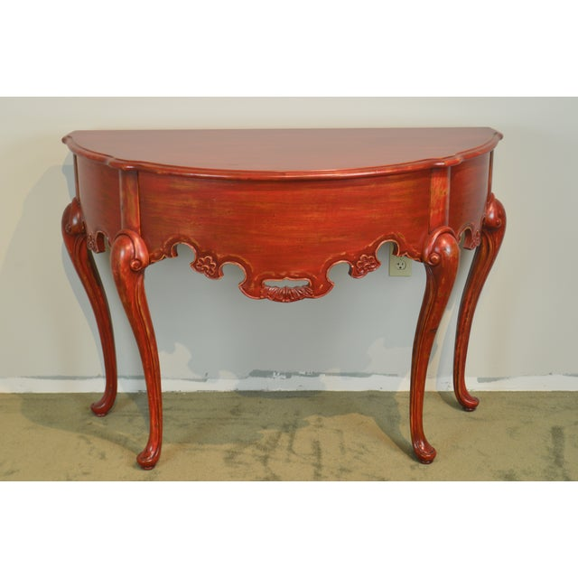 French Country Style Red Painted Demilune Console Table Chairish - French country style console table