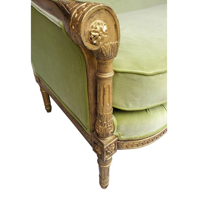 French Green French Style Settee For Sale - Image 3 of 6