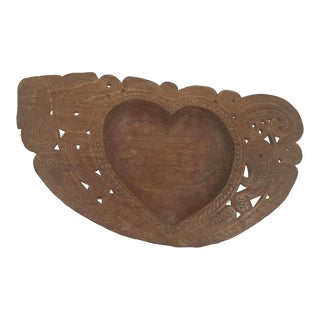 Papua New Guinean Heart Shaped Wood Bowl