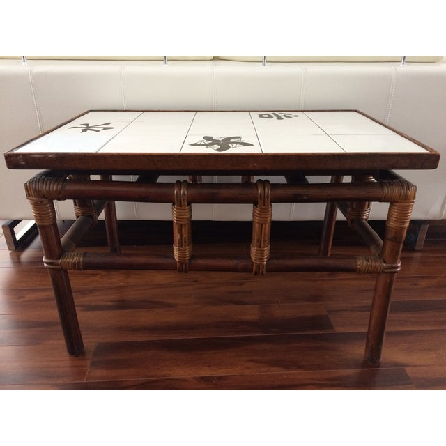 Ficks Reed Mid Century Bamboo & Tile Table - Image 8 of 9