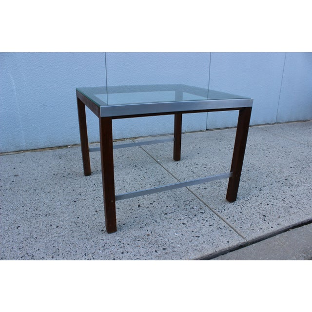 1970's Modern Chrome and Walnut Side Table For Sale In New York - Image 6 of 8