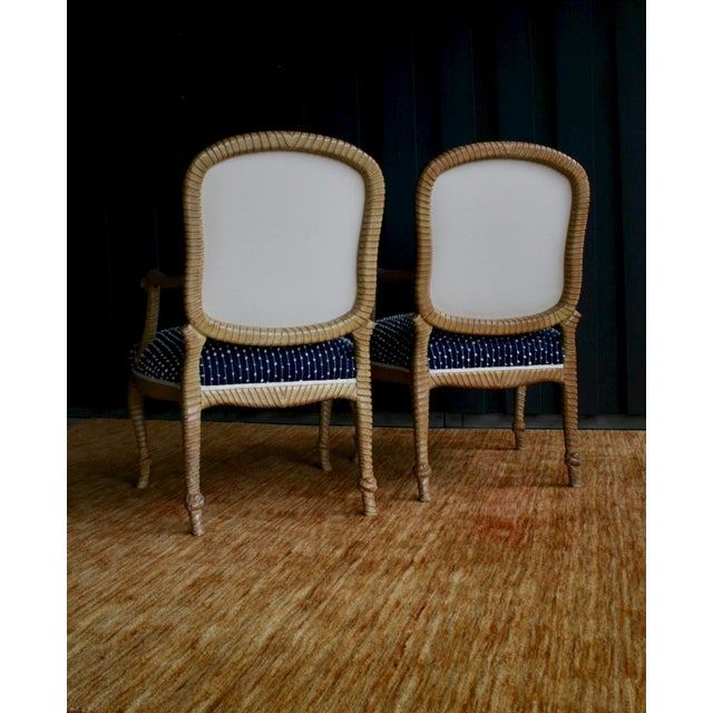 Cotton Newly Upholstered Rope & Tassel Armchairs, a Pair For Sale - Image 7 of 12