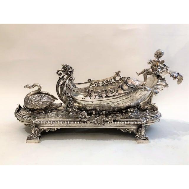 Antique French Silvered Bronze Centerpiece, Circa 1890.