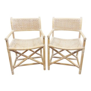 Mid Century Distressed Caned & Bamboo Director's Chairs - a Pair For Sale