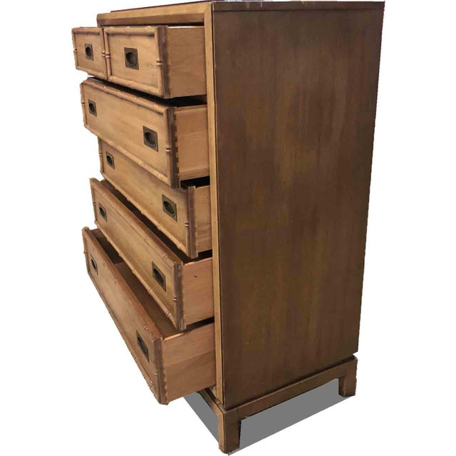 Asian 1960s Hollywood Regency Thomasville Faux Bamboo 5-Drawer Highboy For Sale - Image 3 of 9