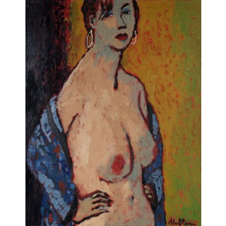 Rip Matteson Female Nude With Earrings, Oil on Canvas, Late 20th Century For Sale
