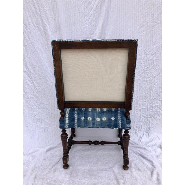 Antique Jacobean-Style Mahogany Mali Indigo Upholstered Armchair - Image 5 of 11