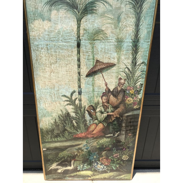 Chinoiserie wall hanging with a decoupaged Asian scene with beautiful colors. Originally sold by a local design firm Gary...