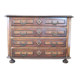 17th Century Italian Louis XIV Walnut Antique Commode or Chest of Drawer For Sale