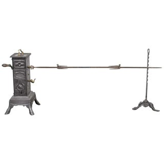 19th Century French Cast Iron Clockwork Rotisserie Spit Jack For Sale