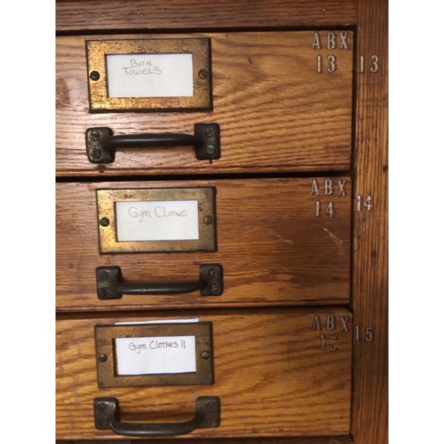 Brass Early 20th Century Antique Oak File Cabinet For Sale - Image 7 of 8 - Early 20th Century Antique Oak File Cabinet Chairish