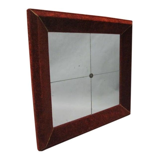 Venetian Antique Velvet Framed Mirror For Sale