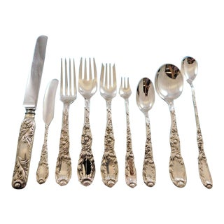 Chrysanthemum by Tiffany and Co Sterling Silver Flatware Set Service 98 Pieces For Sale