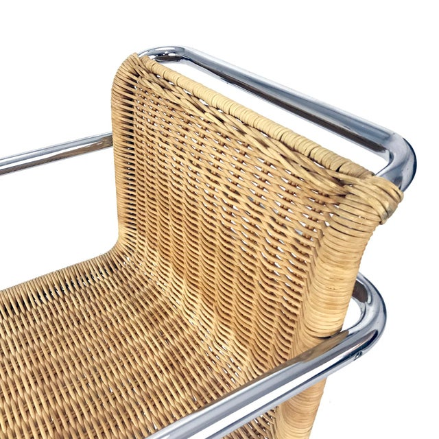 Vintage Chrome & Wicker Chair Mr-20 by Ludwig Mies S Van Der Rohe Style For Sale - Image 5 of 6