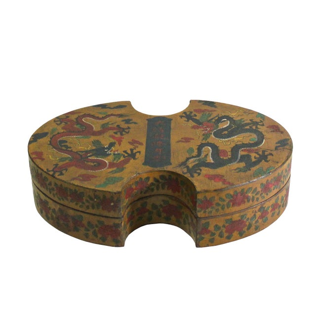 This is a handmade Chinese accent decorative box made of wood and finished with a distressed yellow base color. The...
