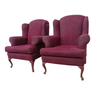 20th Century Red Wingback Armchairs - A Pair For Sale