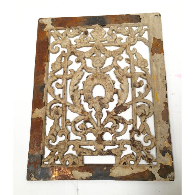 Gold Antique 1800s Cast Iron Register Grate For Sale - Image 8 of 9