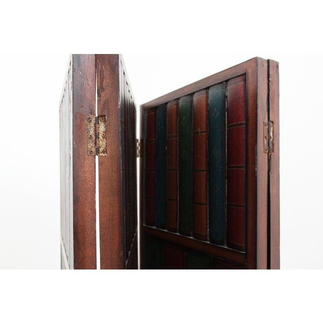 Vintage Trompe l'Oeil Folding Screen- Library Bas Relief Room Divider For Sale In San Francisco - Image 6 of 9