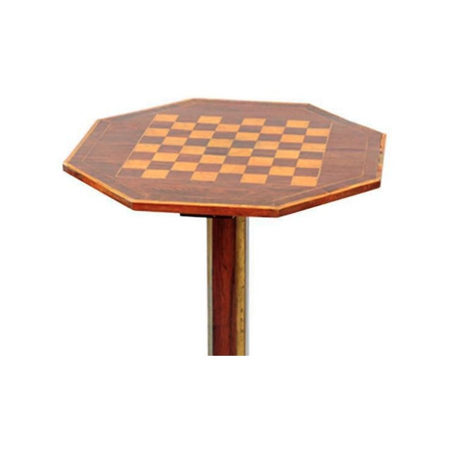 An exceptional russian parquetry inlaid chess table with gilt mounts.