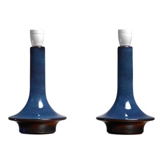 Pair of blue ceramic table lamps by Soholm, Denmark, 1960s For Sale