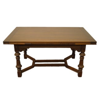 """English Revival Jacobean Mount Airy Walnut 96"""" Draw Leaf Dining Table For Sale"""