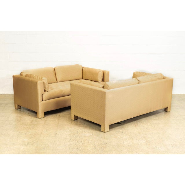 Contemporary Mid Century Probber or Wormley Style Tan Upholstered Sofa Couches - a Pair For Sale - Image 3 of 10