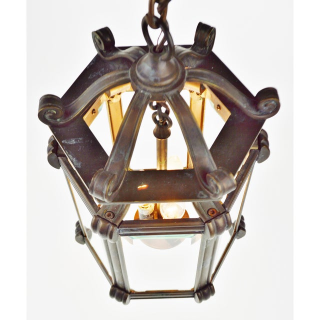 Bronze & Beveled Glass 3 Light Lantern Light Fixture - Image 4 of 11