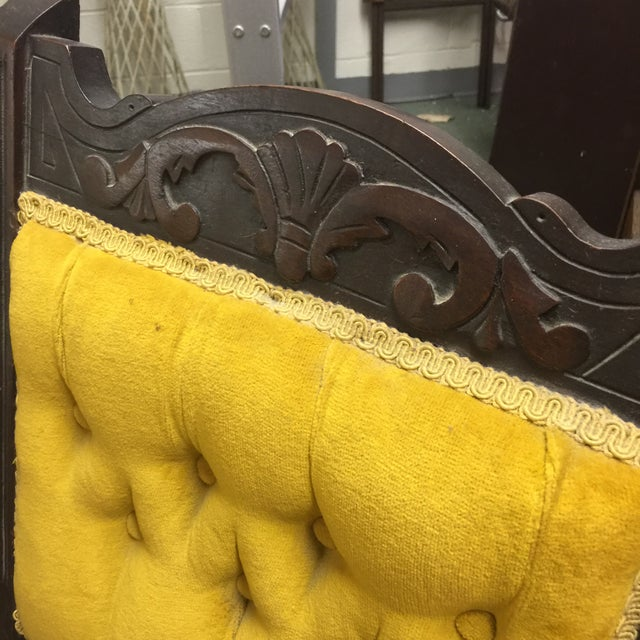 Antique Tufted Yellow Wooden Chair - Image 3 of 9