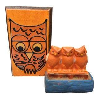 Orange Owl Decor - A Pair