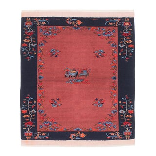"""Chinoiserie Hand-Knotted, Rug-3'10"""" X 4'8"""" For Sale"""