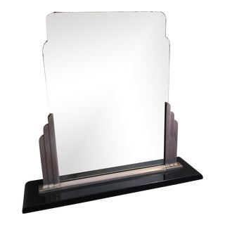 1930s Art Deco Steel and Cast Metal Dresser Mirror by Norman Bel Geddes for Simmons For Sale