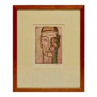 Original Cubist Movement Block Print Portrait