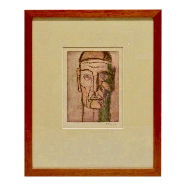 Original Cubist Movement Block Print Portrait For Sale