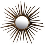 Image of Vintage Chaty Vallauris Sunburst Convex Signed Mirror For Sale