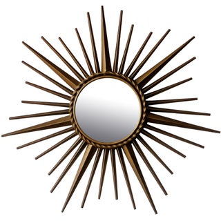 Vintage Chaty Vallauris Sunburst Convex Signed Mirror For Sale