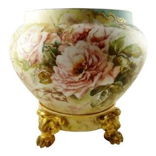 Limoges Jardiniere Vase Planter & Stand For Sale