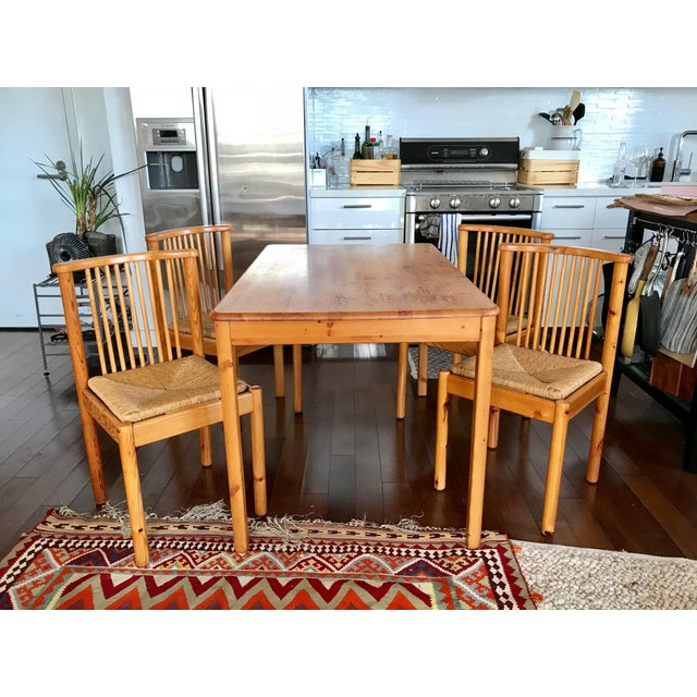 1960s 1960s Vintage Dining Table & 4 Pine Spindle Back and Rush Chairs - 5 Pieces For Sale - Image 5 of 11