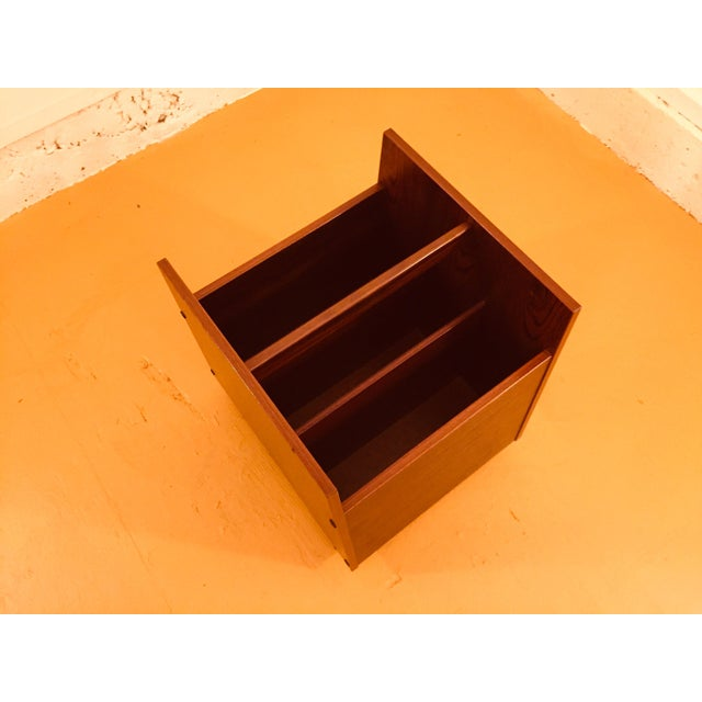 Rosewood Single Rolling MCM Record Album Holder by Rolf Hesland for Bruksbo, Norway For Sale In Seattle - Image 6 of 13