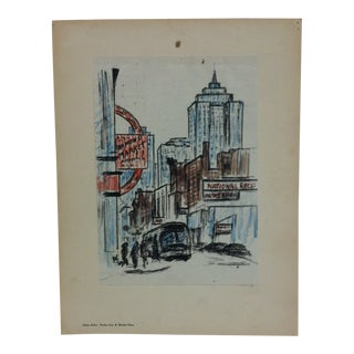 "Mounted Color Pittsburgh Print, ""Forbes Ave. & Market Place"" by Julius Kahn - 1969 For Sale"