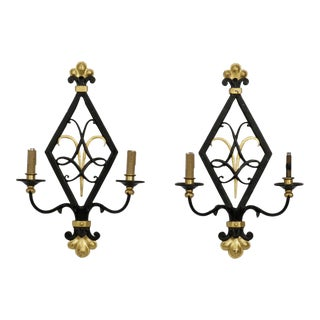 Pair Black and Gilt Iron Art Moderne Style Sconces