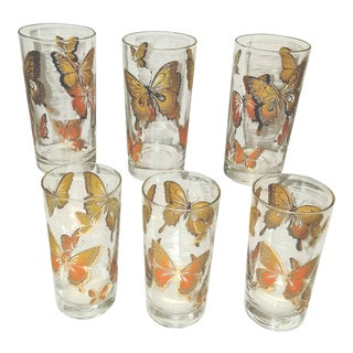 Boho Chic Mid Century Tumblers With Enameled Glitter Butterflies - Set of 6 For Sale