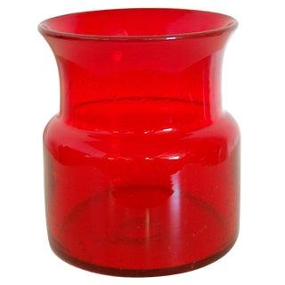 Vintage Swedish Red Art Glass Vase by Erik Höglund for Boda For Sale