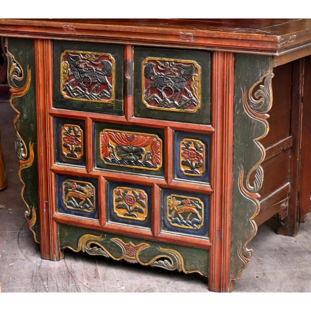 Asian 19th Century Tibetan Hand Carved Chest For Sale - Image 3 of 11