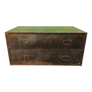 Sarreid Ltd Style Brass Chest Coffee Table For Sale