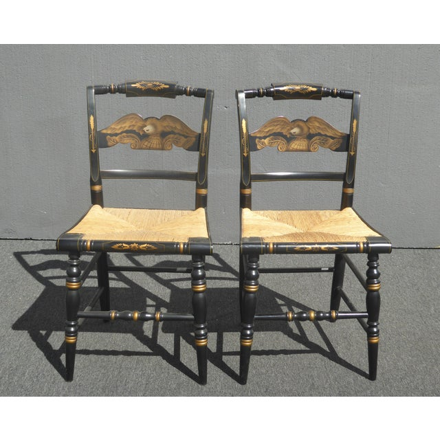 Vintage Pair of L. Hitchcock Federal Black Eagle Chairs With Rye Seats For Sale - Image 11 of 11