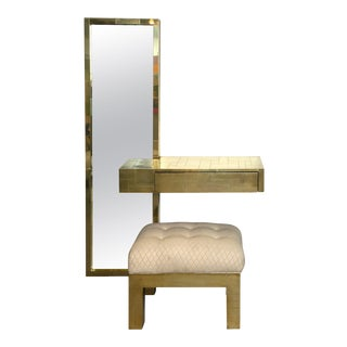 Paul Evans Signed Cityscape Brass Console with Mirror and Bench For Sale